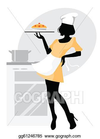 Baker clipart girl baker. Vector stock silhouette clip