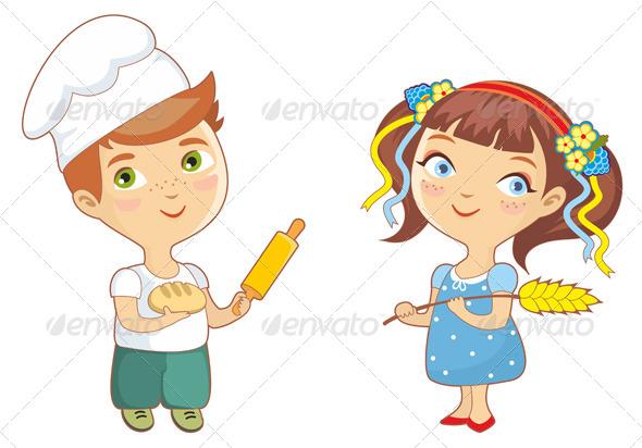 Children boy and by. Baker clipart girl baker