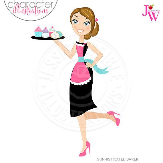 Baker clipart girl baker. Stylish sophisticated character illustration