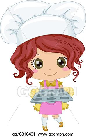 Vector girl illustration gg. Clipart woman baker