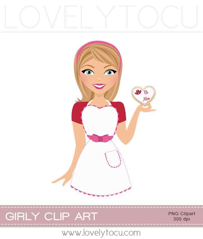 Valentine baking heart sugar. Baker clipart girl baker