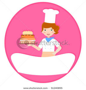 Baker clipart lady baker. And cake on a