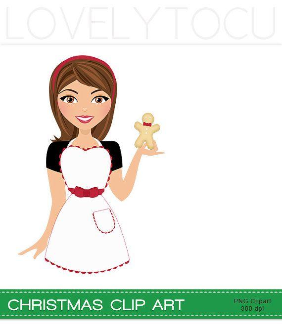Girl clipartuse christmas baking. Baker clipart lady baker
