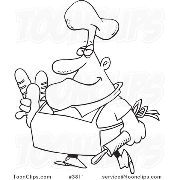 Baker clipart line drawing. Bread at getdrawings com