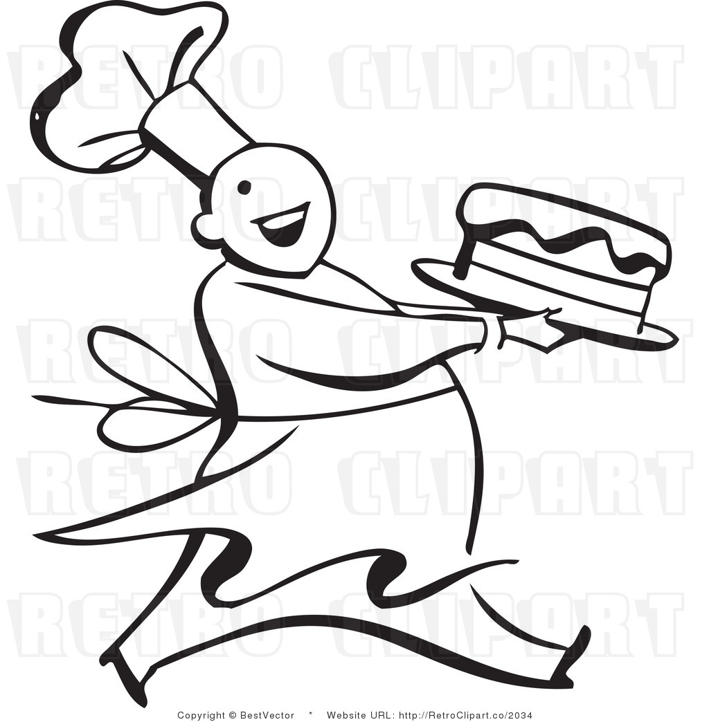 Clip art of a. Baker clipart line drawing
