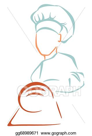 Vector art bakery symbol. Baker clipart line drawing