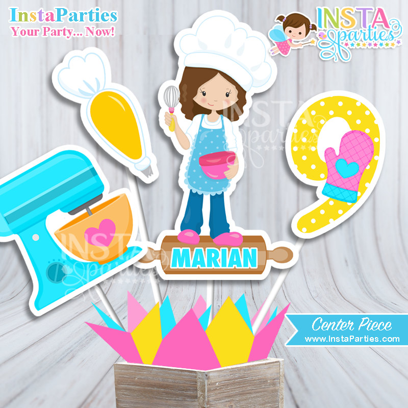 Girl party centerpiece chef. Baker clipart little baker