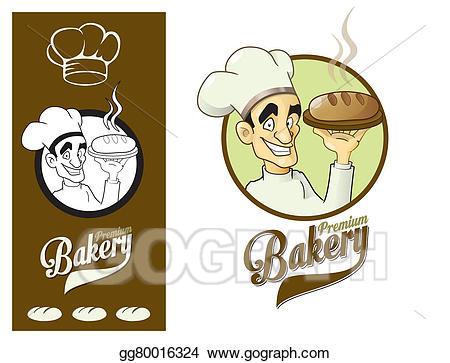 Baker clipart logo. Stock illustration design element