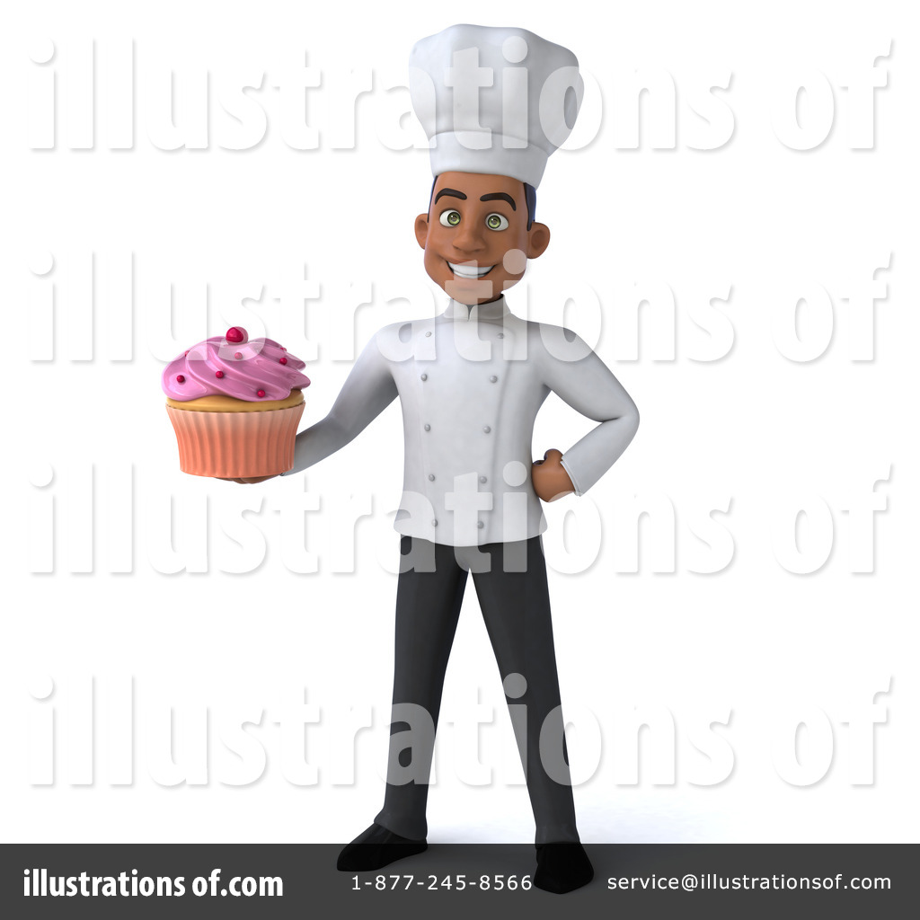 Young black chef illustration. Baker clipart male
