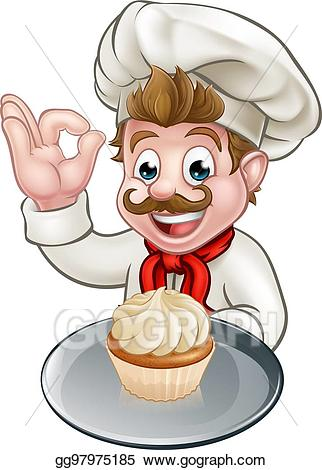 Baker clipart pastry. Vector stock cartoon or