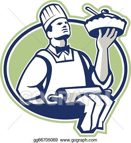Baker clipart pie. Eps vector chef cook
