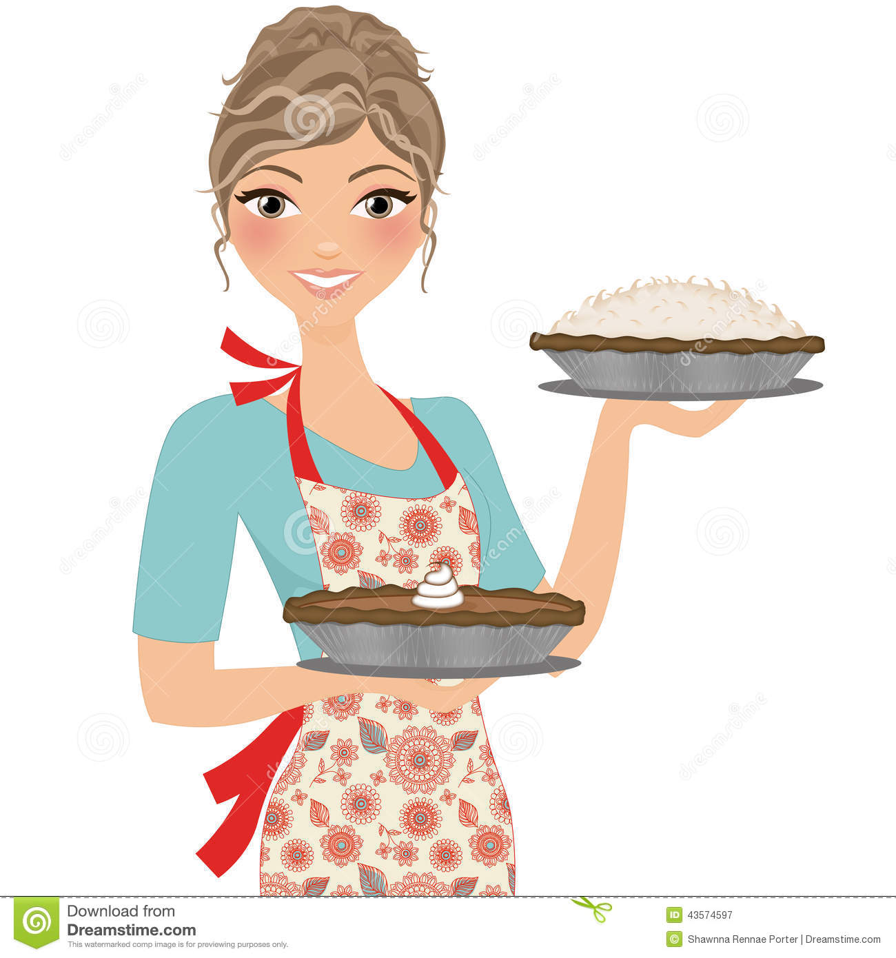 Pencil and in color. Pie clipart baker
