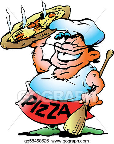 Vector art with a. Baker clipart pizza