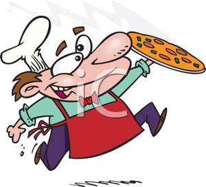 A colorful cartoon of. Baker clipart pizza