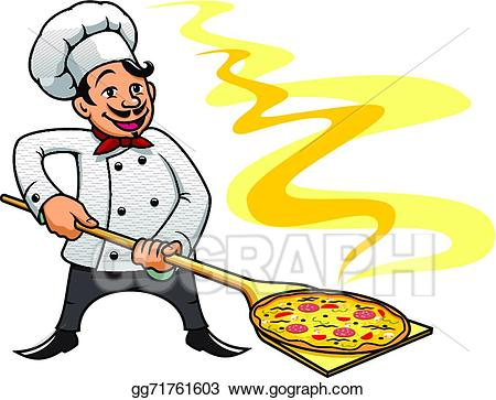 Baker clipart pizza. Vector art cartoon chef