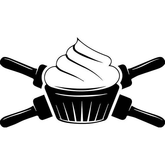 Baking logo cupcake bakery. Baker clipart rolling pin