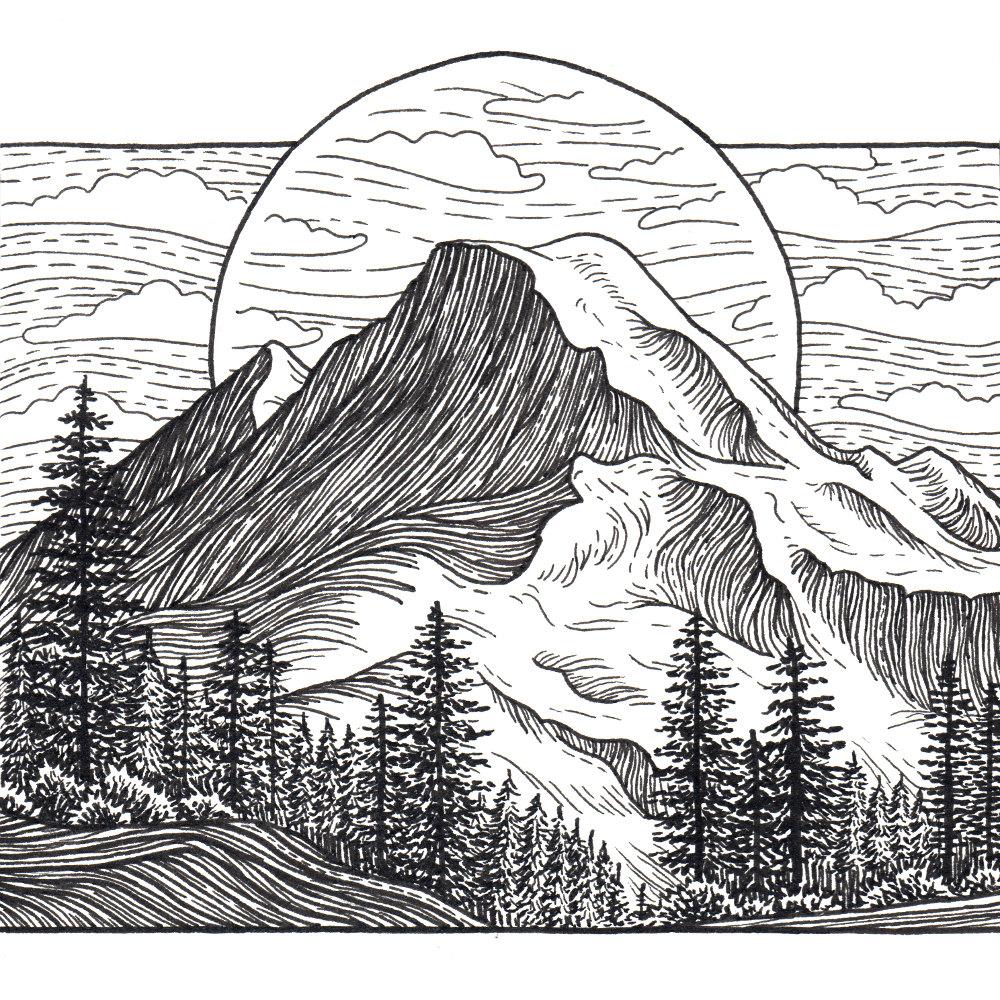 Mt x print mountain. Baker clipart sketch