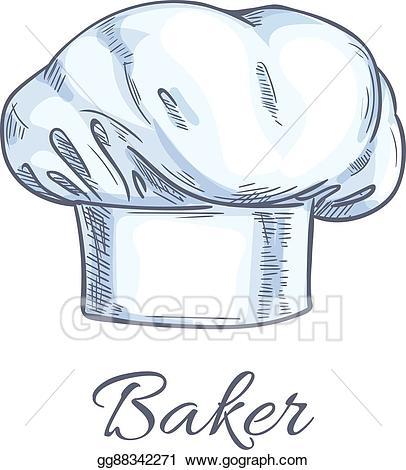 Baker clipart sketch. Eps vector white toque