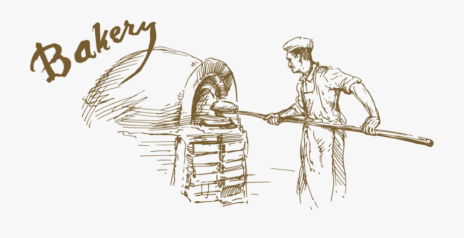 Baking drawing kid bread. Baker clipart sketch