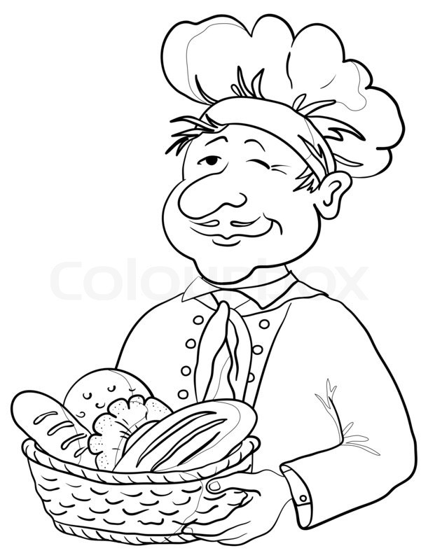Baker clipart sketch. Bread basket drawing at