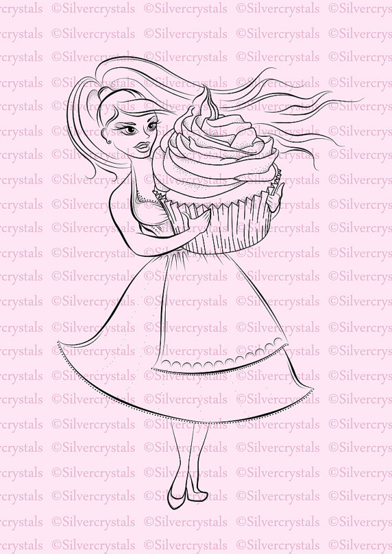 Digital stamp cupcake girl. Baker clipart sketch