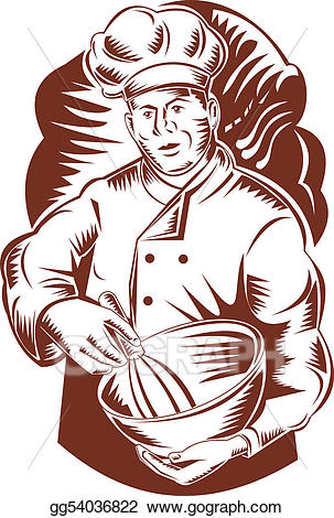 Baker clipart sketch. Stock illustration with a