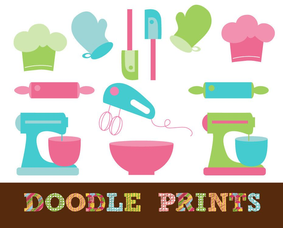Digital scrapbook clip art. Bakery clipart printable