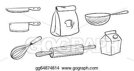 Baker clipart tools. Eps vector different kinds