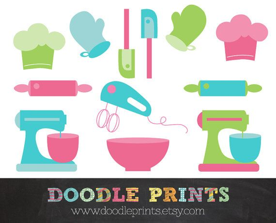 Digital scrapbook clip art. Cookbook clipart equipment