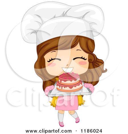 Cartoon of a Cute Brunette Caucasian Baker Girl Holding Fresh Cake