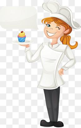 Baker clipart vector. Female chef png vectors