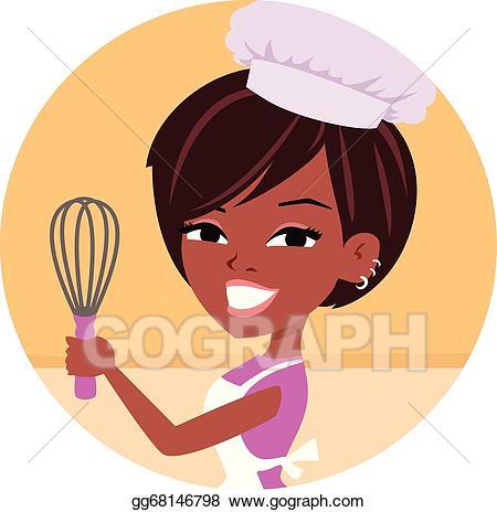 Art woman chef african. Baker clipart vector