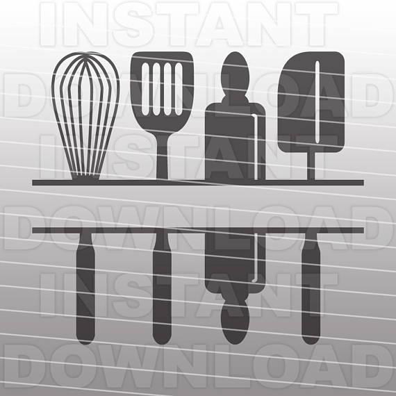 Kitchen monogram svg file. Baker clipart vector