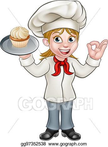 Clip art vector cartoon. Cook clipart pastry chef