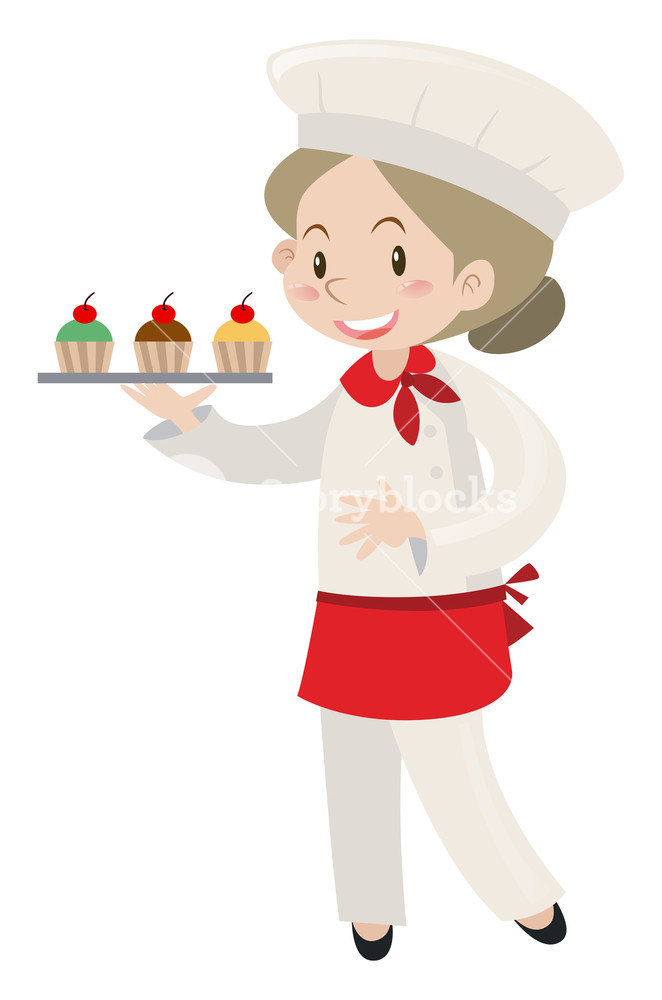 Female holding tray of. Baker clipart woman baker