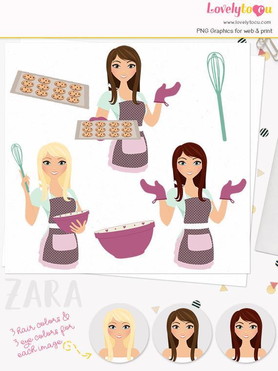 Baker clipart woman baker. Baking character chocolate chip