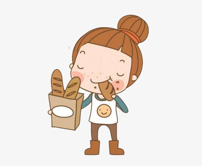 Eat girl ball head. Bread clipart character