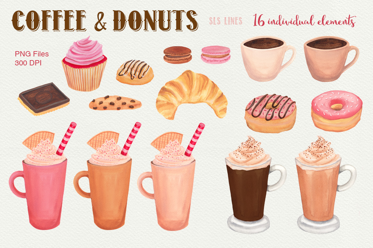 Coffee donuts by sls. Bakery clipart baked goods