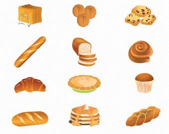 Bakery clipart bakery food. Illustration etsy bread cake