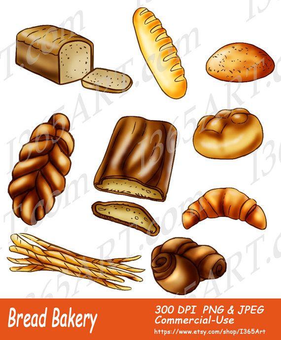 Bread clip art baked. Bakery clipart bakery food