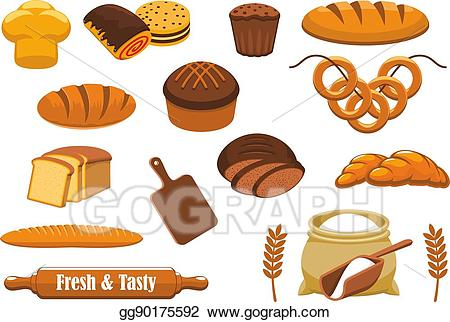 Vector illustration bread and. Bakery clipart bakery food