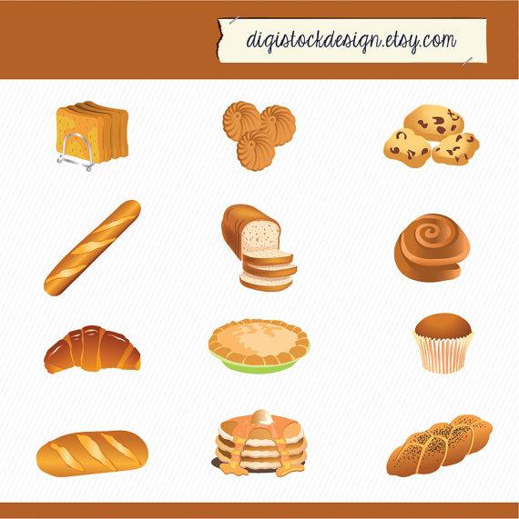 Food illustration bread cake. Bakery clipart bakery item