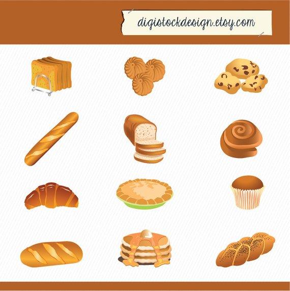 Bakery food illustration cake. Bread clipart baked goods