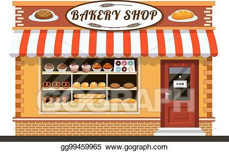 Shop clipart bakery. Vector art front veiw