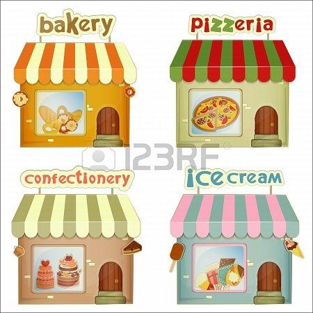 Stock vector dramatic play. Bakery clipart bakery stall