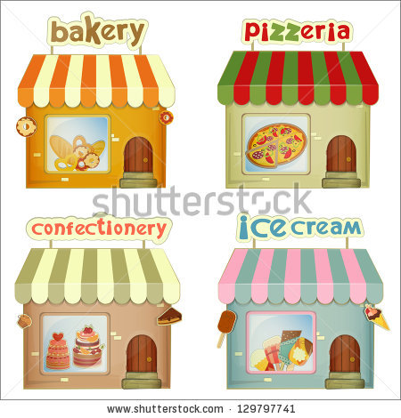 Bulding ice cream pencil. Bakery clipart bakery stall