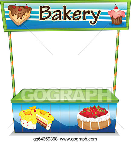 Bakery clipart bakery stall. Vector art a wooden