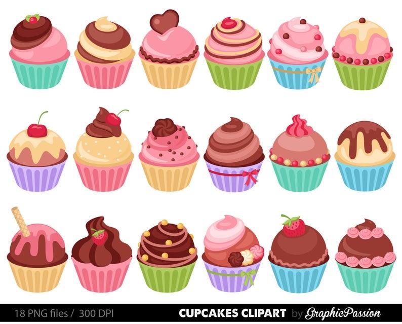 Digital clip art illustration. Cupcakes clipart easy cupcake
