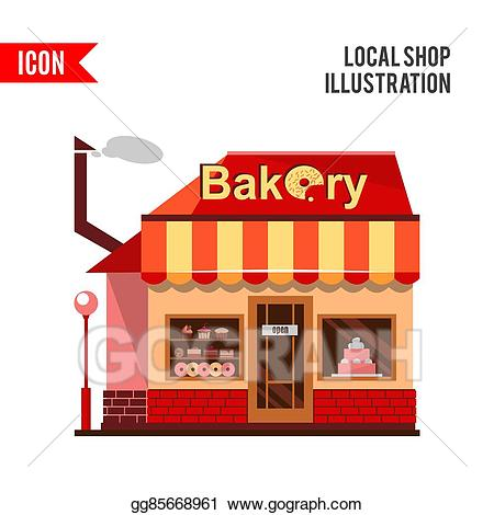 Stock illustration building with. Bakery clipart bakery window
