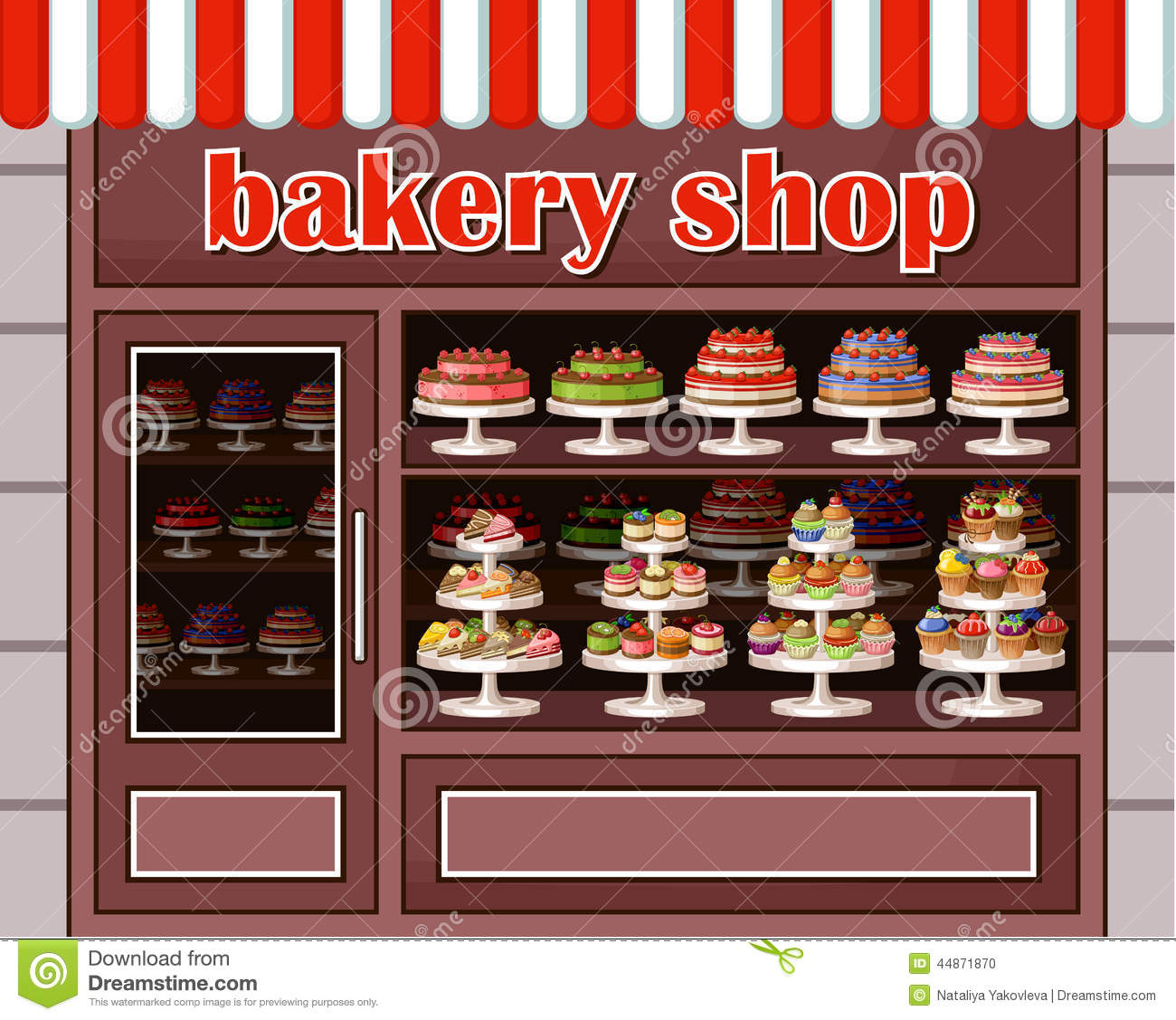 Bakery clipart bakery window. Store of sweets and